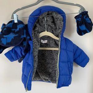 Gymboree baby boys winter jacket & GAP hat/mittens